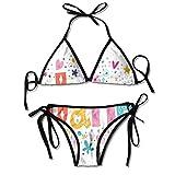 Trajes de baño Estilo de Dibujos Animados Festivo Celebración Rombos Flores y Copos de Nieve Nombre del bebé Conjuntos de Bikini Traje de baño Traje de baño