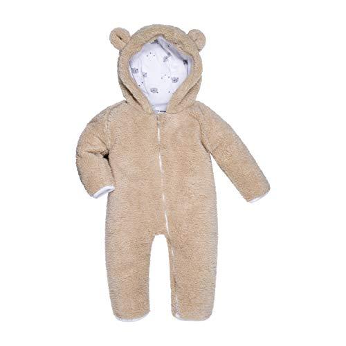 BIG ELEPHANT Unisex Baby Bear Bunting Hooded Jumpsuit Cotton Fleece Long Sleeve Warm Onesies Winter Outwear Outfits Khaki