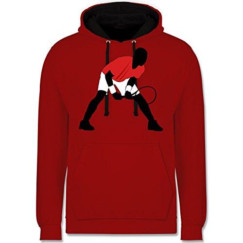 Shirtracer Tennis - Tennis Squash Aufschlag Annahme - L - Rot/Schwarz - Squash - JH003 - Hoodie zweifarbig und Kapuzenpullover für Herren und Damen