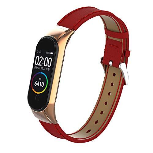 BDIG Armband Kompatibel für Xiaomi Mi Band 5 Mi Band 4, Leder MiBand 6 Ersatzband Lederarmband Replacement Smart Band Watch Strap Uhrenarmband Zubehör für Xiaomi Miband 5