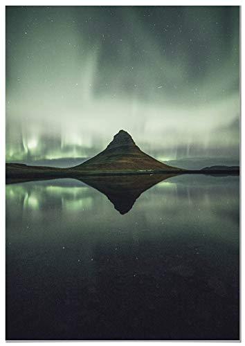 Panorama Póster Aurora Boreal Islandia 70x100cm - Impreso en Papel 250gr - Póster Pared - Láminas para Enmarcar - Cuadros Decoración Salón - Pósters Decorativos - Cuadros Modernos
