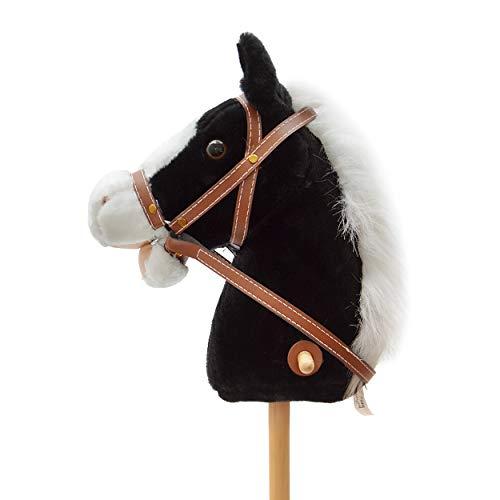 Pink Papaya Steckenpferd, Beauty, süßes Spielzeug Pferd aus Plüsch mit Sound Funktion: Gewieher und Galoppgeräusch - Farbe: schwarz mit weißer Mähne
