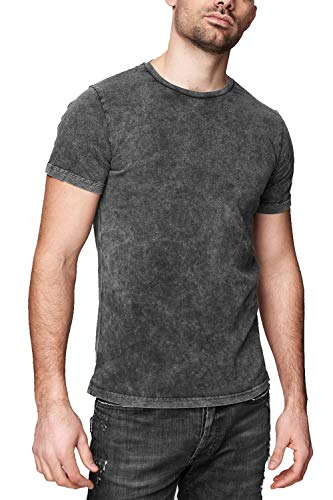 trueprodigy Casual Marca Camiseta para Hombre Basico Ropa Retro Vintage Rock Vestir Moda Cuello Redondo Manga Corta Slim fit Designer Fashion t-Shirt, Tamaño:L, Colores:Anthracite