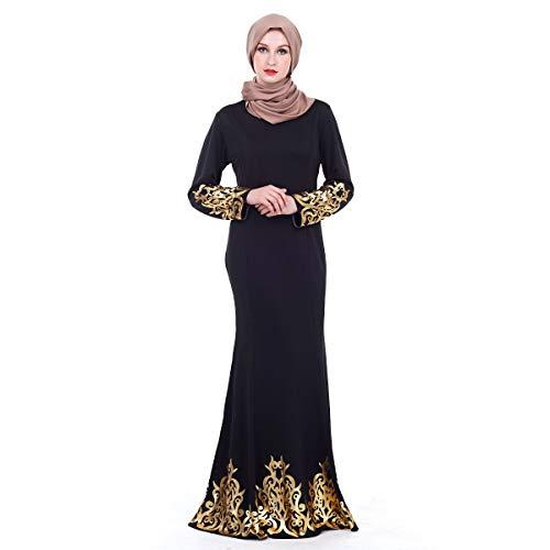 AmyGline Muslimische Kleider Damen islamische Kleider Hofstil Bronzierte Arabische Robe Lang Kleid Maxikleid Elegant Edle Kleid Muslim Arab Kleid Dubai Kaftan Ramadan Kleider Gebet Kleid