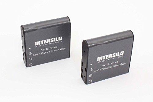 INTENSILO 2 x Li-Ion Akku 1250mAh (3.7V) für Videokamera Camcorder Praktica 10.10 FHD, DV-HD12, DVC 14.1 HDMI, DX-1, DX1 wie NP-40, PAC-0040.
