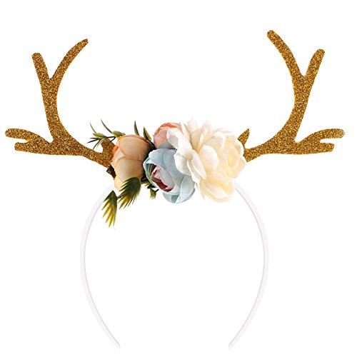 OULII Lustige Hirsch Geweih Stirnband mit Blumen Blüte Neuheit Haar Band Weihnachten Fancy Dress Kostüme Zubehör (Khaki)