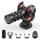 OMBAR Micrófono Universal de Vídeo Compacto para Cámara para Youtube Vlogging, Escopeta Micrófono Externo para Videocámaras con Soporte Amortiguador, Microfono pc Compatible para Canon Nikon Sony