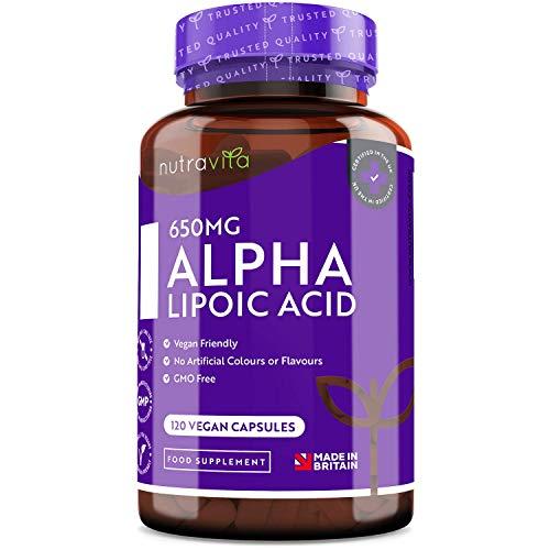 Ácido alfa lipoico 650 mg – 120 cápsulas de alta potencia para veganos – 100% naturales, sin agentes aglutinantes ni rellenos sintéticos – Suministro para 4 meses – Elaborado por Nutravita