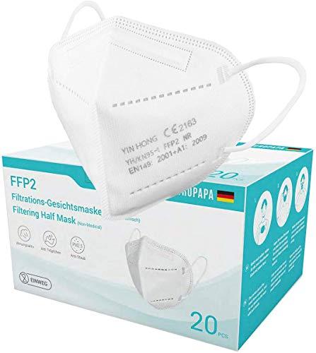 20x einzeln verpackte FFP2 Mundschutz, CE Zertifiziert nach EN149: 2001 + A1: 2009, Faltbare Halbmasken mit Nasenbügel und weichen elastischen Ohrschlaufen