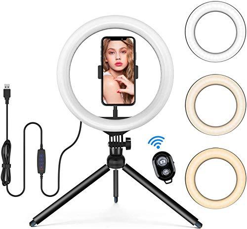 """13"""" Selfie Ringleuchte Stativ mit Handyhalter und Fernbedienung, Tischringlicht mit 3 Farbe & 10 Helligkeitsstufen, 164pcs Lampen Live Licht für YouTube, Videosschooting, live Streaming, Schminken"""