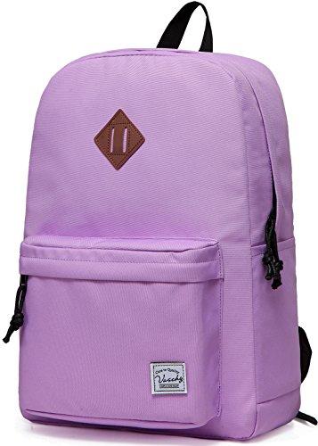 Schulrucksack Mädchen Teenager, VASCHY Wasserabweisender Leicht Schultasche für Hochschule Casual Rucksack für Reise, Sport, Wandern Lila