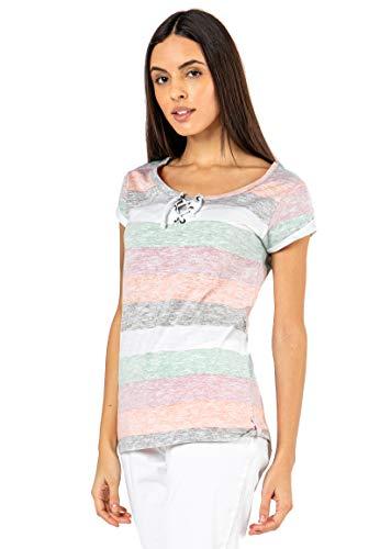 Sublevel Damen T-Shirt mit Kordel-Schnürung Gestreift orange L