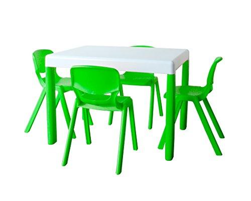 Ergos PKERGOS020362 Set 1 tafel en 4 kinderstoelen, leeftijd 4 tot 6, maat 2, lichtgroen