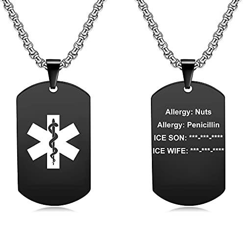 JF.MED Personalized Medical Alert ID Pendant Necklace | Custom Engraved Alert Necklace | Gun-Plated 316L Stainless Steel Dog Tag Allergy Alert Identification Necklace for Men & Women (20-24 inch)