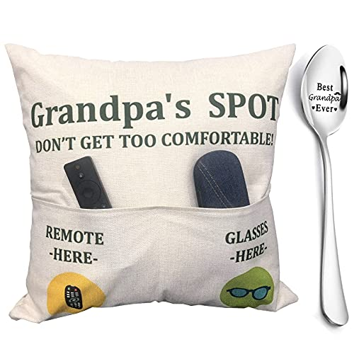 Grandpa Gifts, 2-Pocket Grandpa's Spot Throw Pillow Covers 18x18 Inch + Engraved Spoon, Father's Day Birthday Christmas Thanksgiving Day Gifts for Papa, Granddad