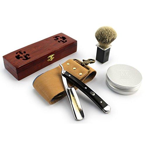 """A.P. Donovan - Exzellentes 7/8\"""" Rasiermesser Set mit Goldätzung - Griff aus schwarzem Sandelholz - Pinsel, Seife, Paste und Streichriemen dabei"""