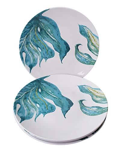Lot de 4 petites assiettes en porcelaine Ø 20,5 cm Assiettes à salade , à dessert à apéritif Design tendance Motif feuille Vert Love I