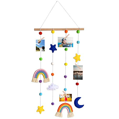 MIPON Rainbow Baby Room Decor Kids Bedroom Macrame Photo Display,Colorful Pom Pom Ball String Wall Hanging Photo Organizer,Cute Nursery Boho Festival Ornaments Toddler Gifts with 25 Wood Clips