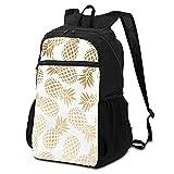 Sac à dos d'école, sac à dos pour ordinateur portable, élégant, motif ananas tropical, doré, sac à dos pour ordinateur professionnel, sac de voyage, sac à dos de randonnée, école