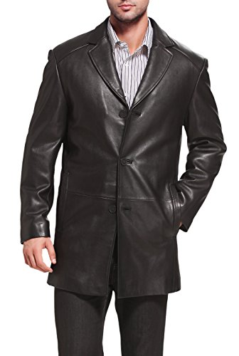 BGSD Men's Carter Three-Button New Zealand Lambskin Car Coat Black Large