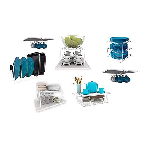 Kit Organizador de Armário para Cozinha - 7 Peças (Branco)