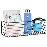 mDesign Estante de metal para baño, cocina, pasillo o lavadero – Estante de pared ancho en alambre de metal – Cestas de rejilla compactas – color bronce
