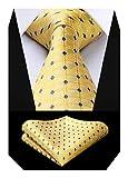 BIYINI Corbatas para hombre Conjunto pañuelo a cuadros, jacquard clásico, para boda, y pañuelo de bolsillo