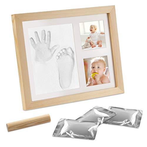 Migimi Baby Handabdruck und Fußabdruck, Baby Hand und Fuß Gipsabdruck Abdruckset, Holz Bilderrahmen Fussabdruck Set mit Gipsabdruck - Geschenken für Babys - Erinnerungsrahmen für Neugeborene