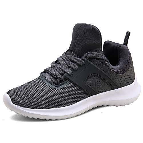 DENGBOSN Basket Homme Femme Chaussures de Course Running Sport Léger Fitness Sneaker XZ666-grey1-EU38