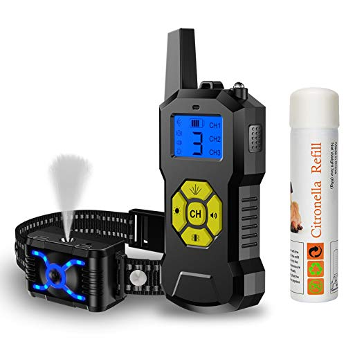 POIIOPY Citronella Spray Dog Training Collar with Remote Control-Vibration Beep Spray Dog Bark Collar with LED Light-2600 ft Range Rechargeable Adjustable No Electric Shock Harmless Anti-Bark Collar