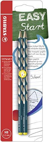 Schmaler Dreikant-Bleistift für Linkshänder - STABILO EASYgraph S in petrol - 2er Pack - Härtegrad HB