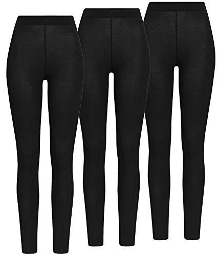 ONLY 3er Pack Damen Leggings Onllive Love Long Stretch Hose schwarz XS