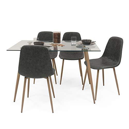 Homely - Conjunto de Comedor Cairo Antique Mesa de Cristal 120x80 y 4 sillas tapizadas (MY-6 Gris)