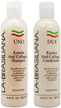 LA-BRASILIANA UNO Keratin After Treatment Shampoo 8oz + DUE Conditioner 8oz Combo Set