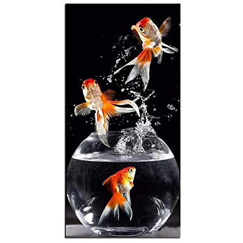 Diamante Pintura 5D diy por número Kit, Goldfish en una pecera 16x32in...