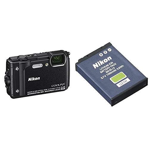 Nikon Coolpix W300 Fotocamera Digitale Compatta, 16 Megapixel, 4K, Subacquea, Antiurto, Antigelo, GPS & En El12 Batterie Ricaricabili