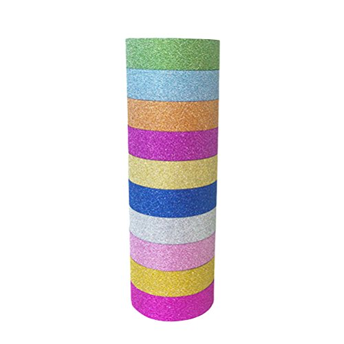 TOYMYTOY 10PCS Glitter Washi Tape Set einfarbig dekorative DIY Tape Kit - zufällige Farbe