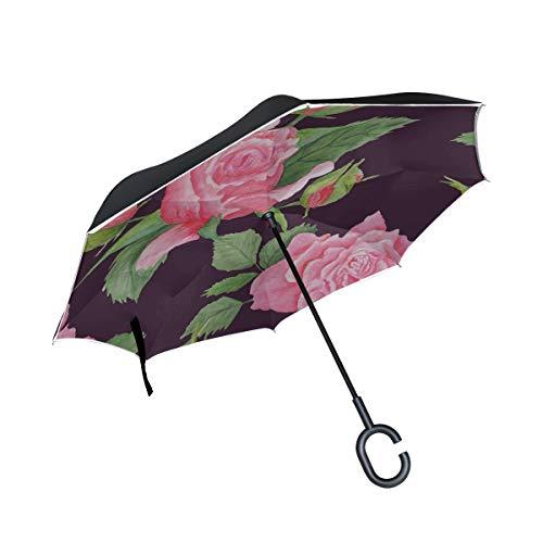 Double Layer Inverted Umbrella Fold Up Zarte und schöne Rose Folding Umbrella Chair Wende-Regenschirm für Frauen Winddichter UV-Schutz für Regen mit C-förmigem Griff