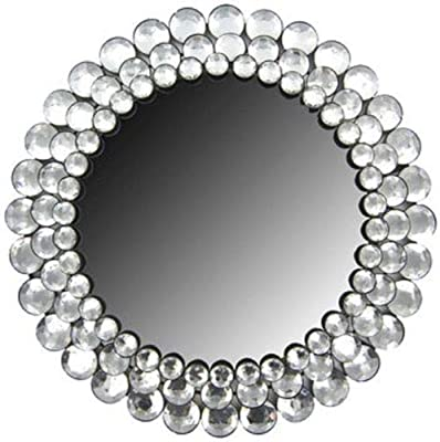Anya Nana Ideal Design Round Clear Gemstone Elegant Crystal Accented Wall Mirror Home Decor