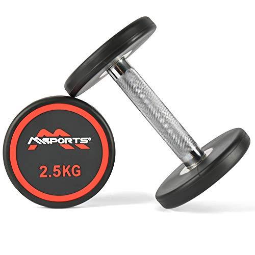 MSPORTS Rundhantel Premium 2er Set | Gummi Kurzhantel Beschichtung 2,5-50 kg | Griff verchromt und gerändelt | Verschiedene Gewichtsvarianten Hantel (2 x 2,5 kg)