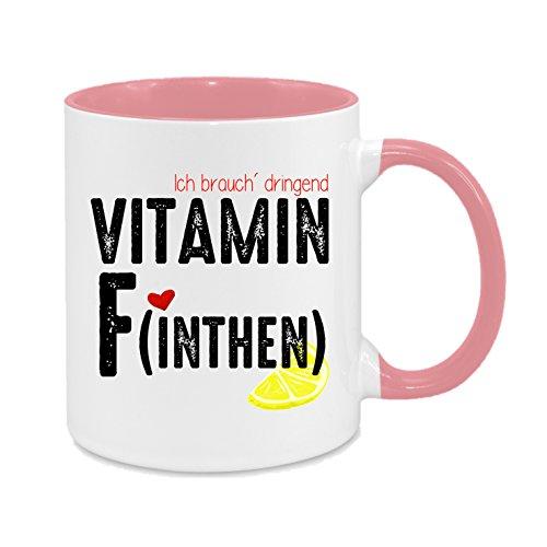 Ich brauch' dringend Vitamin F (inthen) - Finthen - Mainz - hochwertiger Keramik-Kaffeebecher - Cups by t? - Kaffeetasse - Spruchtasse - Tasse mit Spruch - Geschenk