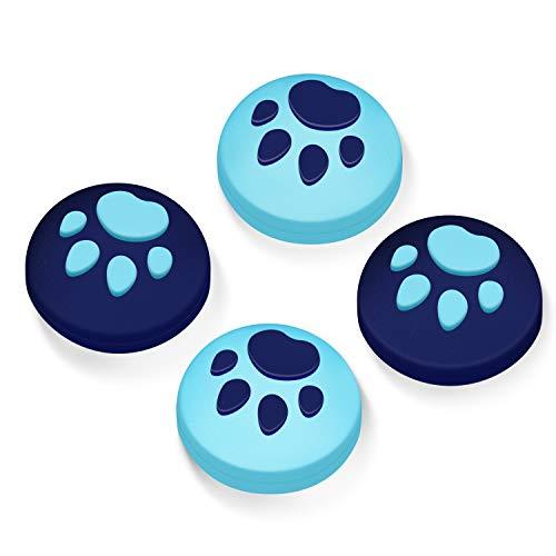 【Switch/Switch Lite 対応】アナログスティックカバー 保護カバー (4個セット) 猫 肉球 アシストキャップ 親指グリップキャップ ジョイスティックカバー(ブルー/ダックブルー)