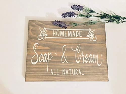 Zelfgemaakte zeep & crème alle natuurlijke vintage hout teken rustieke houten borden houten blok plaque muurdecoratie kunst boerderij woondecoratie cadeau - 8x8 inch