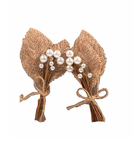 6 Burlap Pearl Wedding Prom Homecoming Boutonniere