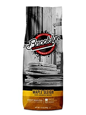 Brooklyn Beans Maple Sleigh 100% Arabica Craft Roasted Ground Coffee, Maple Flavored, 12 Ounce Bag