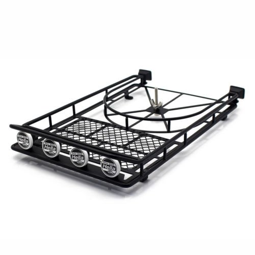 WishRing Roof Luggage Rack 4 LED Light Bar for RC AXIAL SCX10 Rock Crawler 518BK