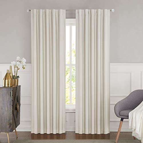 WEST LAKE Ivory Blackout Curtain Backtab Thermal Insulated Noise Reducing Solid 100% Blackout Window Treatment Panel Back Liners for Bedroom,Living Room,Nursery,42''x84'',1 Panel, Ivory/Natural