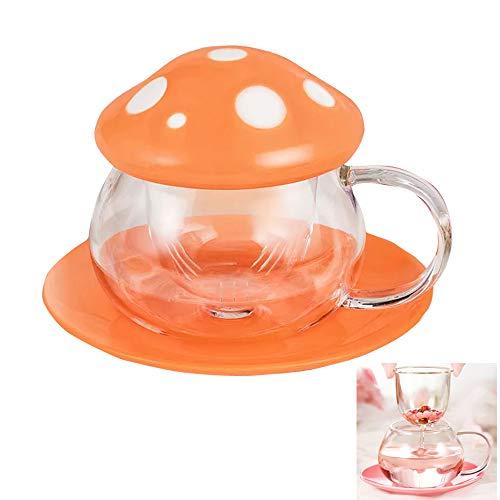 Tea Mug Milk Glass Coffee Cup with Strainer Filter Infuser for Loose Leaf Tea Mushroom Design Cute and Heat Resistant (290ML 9.6oz) (Orange)