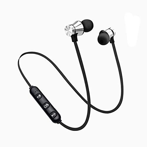 Bluetooth-Kopfhörer im Ohr, Bluetooth 4.1-Stereo-Magnet-Headset mit Mikrofon, Freisprech-Wireless-Bluetooth-Sport-Kopfhörer-Ohrhörer, kompatibel mit den meisten Telefonen und Computern (Silber)