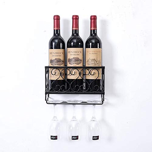 Wine Rack Wall Opknoping Wine Glass Rack wandrek wijnrek Opknoping wijnrek Upside Down Wine Glass Rack wijnrek Plank van het Glas Goblet Shelf rek van de wijn WKY ( Color : Black , Size : 50*10*17cm )